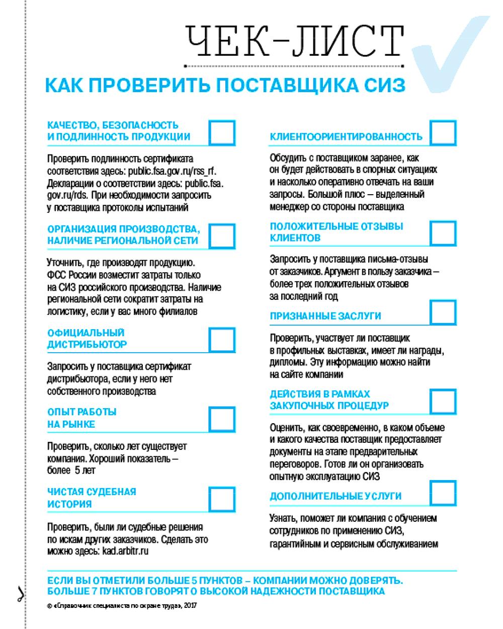 Выбор поставщика СИЗ: Чек-лист
